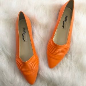 Brand New Bright Orange Vintage Flats